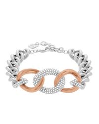 Swarovski | Metallic Bound Rose Gold Tone And Silver Tone Curb Chain Bracelet | Lyst