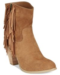 Rampage | Brown Sugar Tuko Fringe Booties | Lyst
