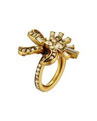 Oscar de la Renta | Metallic Floral Baguette Ring | Lyst