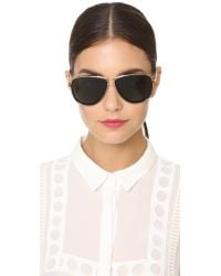 Tory Burch - Black Modern Stacked Sunglasses - Gold Brown/smoke - Lyst