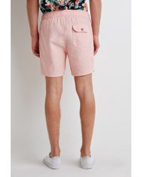 Forever 21   Pink Linen-blend Drawstring Shorts for Men   Lyst