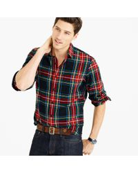 J.Crew | Black Midweight Flannel Shirt In Stewart Plaid for Men | Lyst