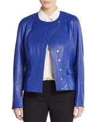 ESCADA - Blue Leather Jacket - Lyst