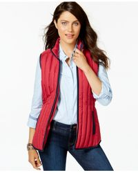 Tommy Hilfiger | Red Contrast-trim Puffer Vest | Lyst
