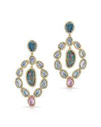 Anne Sisteron - Multicolor 14kt Yellow Gold Opal Sapphire Earrings - Lyst