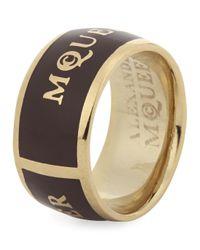 Alexander McQueen | Metallic Bordeaux Enamel Ring | Lyst