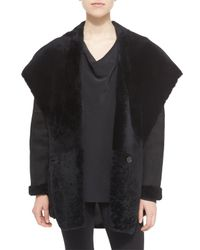 VINCE | Black Hooded Shearling Jacket | Lyst
