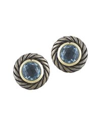David Yurman | Blue Pre-owned 18k Yellow Gold and Silver Topaz Round Cable Earrings | Lyst