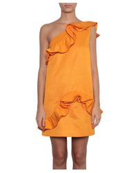 MSGM - Orange One-shoulder Cotton And Viscose Dress - Lyst