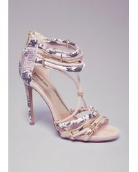 6922ffbc860 Lyst - Bebe Abban Strappy Sandals in Natural