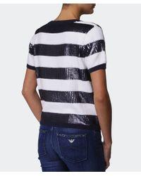 Armani Jeans - Black Sequin Stripe Cropped Sweater - Lyst