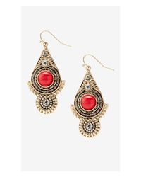 Express - Red Rhinestone And Howlite Medallion Earrings - Lyst
