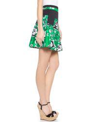 Diane von Furstenberg - Black Floral Print Skirt - Lyst