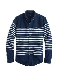 J.Crew - Blue Slim Vintage Oxford in Horizontal Stripe for Men - Lyst