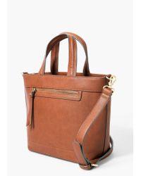 Mango | Brown Zip-detail Tote Bag | Lyst