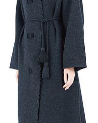 Lanvin - Blue Long Felted Wool Coat - Lyst