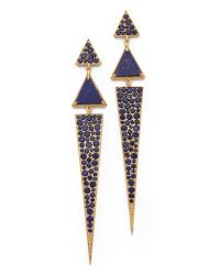 Elizabeth and James | Metallic Chrysler Pave Triangle Earrings - Lapis | Lyst
