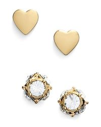 kate spade new york | Metallic 'north Court' Heart & Square Stud Earrings | Lyst