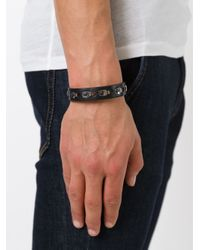 Lanvin | Black Rivet Detailing Bracelet for Men | Lyst