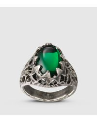 Gucci | Ring With Green Glass Stone for Men | Lyst