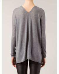 Vince - Gray Lightweight V-Neck Sweater - Lyst