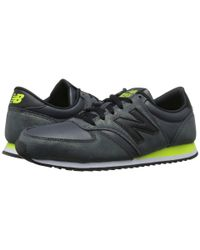 New Balance | Black 420 Textured Leather Low-Top Sneakers | Lyst