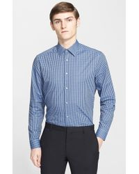 Paul Smith | Blue Trim Fit Check Print Dress Shirt for Men | Lyst