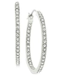 T Tahari | Metallic Silver-tone Crystal Pavé Hoop Earrings | Lyst