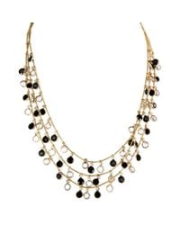 Anne Klein | Metallic Goldtone Jet and Glass Crystal Threerow Shaky Necklace | Lyst