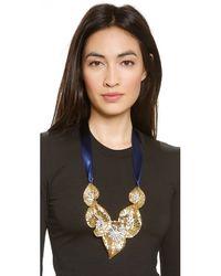 Ben-Amun - Metallic Leaf Statement Crystal Necklace - Gold/Blue - Lyst