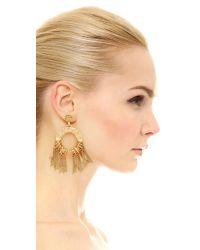 Elizabeth Cole - Metallic Circle Fringe Earrings - Lyst
