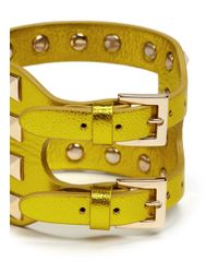 Valentino - Yellow Rockstud Cutout Metallic Leather Bracelet - Lyst