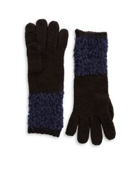 Calvin Klein | Blue Boucle Mixed Knit Gloves | Lyst