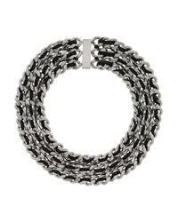 Saint Laurent | Metallic Palladium-Tone And Leather Chain Necklace | Lyst