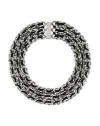 Saint Laurent - Metallic Palladium-Tone And Leather Chain Necklace - Lyst