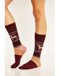 Urban Outfitters - Red Reindeer Intarsia Boot Sock - Lyst