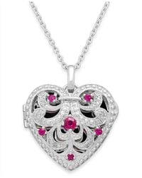 Macy's - Red Ruby (1/3 Ct. T.w.) And Diamond Accent Heart Pendant Necklace In Sterling Silver - Lyst