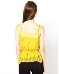 Traffic People   Yellow Anchors and Stripes Silk Cami Top   Lyst