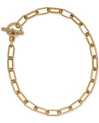 Michael Kors | Metallic Gold-tone Chain Link Pavé Crystal Toggle Necklace | Lyst