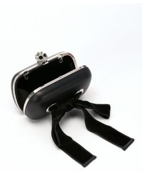 Alexander McQueen - Black Leather Skull Clasp Bow Detail Convertible Clutch - Lyst
