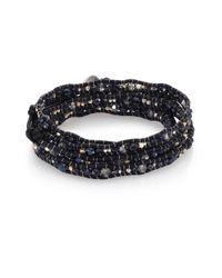Chan Luu | Metallic Crystal & Leather Multi-row Beaded Wrap Bracelet | Lyst