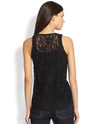 Theory | Black Isaac Lace Tank | Lyst