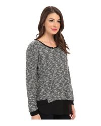 Two By Vince Camuto | Black Ls Sweater Like Knit W Chiffon Piecing | Lyst