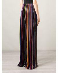 Balmain - Black Striped Wide Leg Trousers - Lyst
