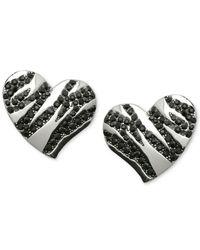 Guess - Metallic Silver-tone Black Stone Striped Heart Stud Earrings - Lyst