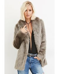 Forever 21 - Gray Shawl Collar Faux Fur Coat - Lyst