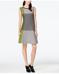 Vince Camuto | Multicolor Striped Colorblock Sleeveless Dress | Lyst