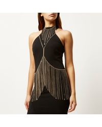 River Island | Metallic Gold Tone Embellished Body Harness | Lyst