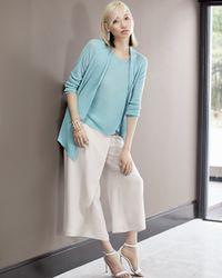 Eileen Fisher | Blue Long Angled Linen-blend Cardigan | Lyst