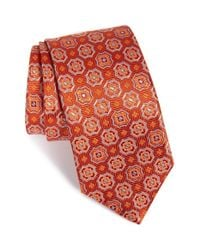 David Donahue | Red Medallion Silk Tie for Men | Lyst